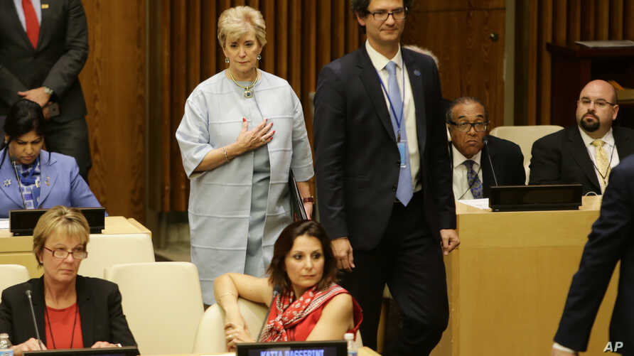 Small Business Administration (SBA) Administrator Linda McMahon arrives in the ECOSOC Chamber at United Nations headquarters, May 11, 2017.