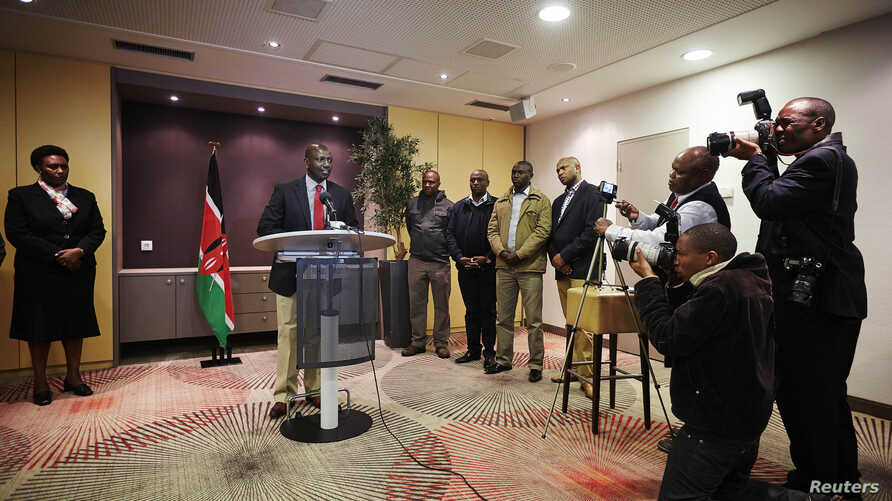 FILE - Deputy Kenyan President William Ruto addresses the media at a news conference at the Movenpick Hotel in the Hague, Oct. 15, 2013.