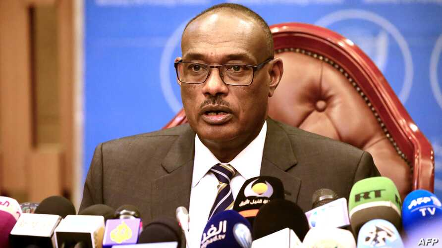 FILE - Sudanese Foreign Minister al-Dirdiri Mohamed Ahmed gives a press conference in Khartoum, June 24, 2018.