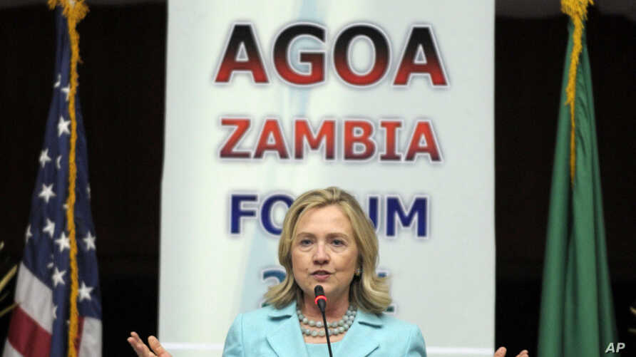 Secretary of State Hillary Clinton speaks at a conference in Luska, Zambia, June 10, 2011