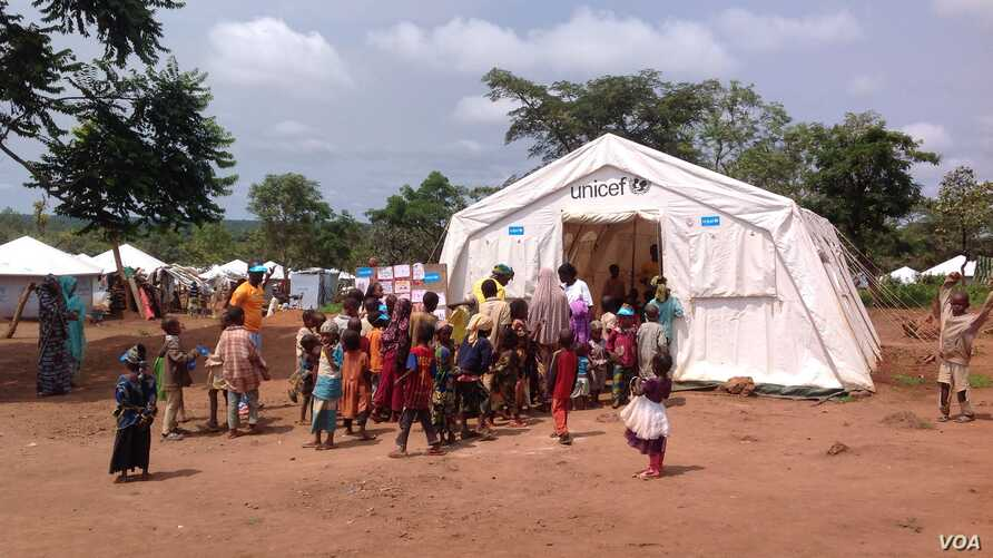Children escaped from the Central African Republic civil war study at Gado Badzere refugee camp in Cameroon. (Photo by Eugene Nforngwa)