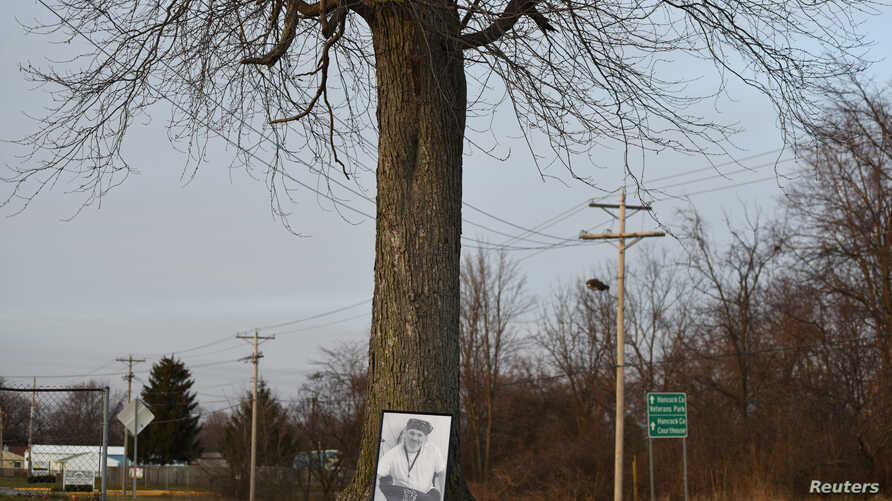 A photo of Doug Wiggington rests against a tree just feet from where he was shocked by a Taser on May 12, 2017, in Greenfield, Indiana, U.S., December 21, 2017.  Picture taken December 21, 2017.