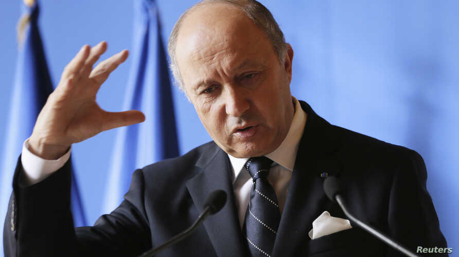 French Foreign Minister Laurent Fabius gives a news conference at the Quai d'Orsay in Paris, October 23, 2012.