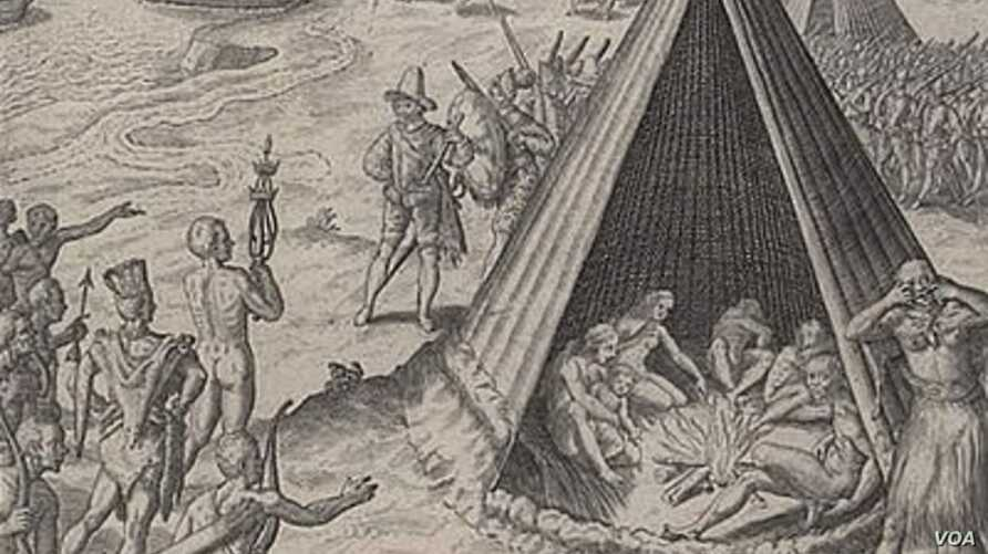 This engraving, published in 1590, depicts Drake's interaction with American Indians on the U.S. West Coast 11 years earlier. (Library of Congress)