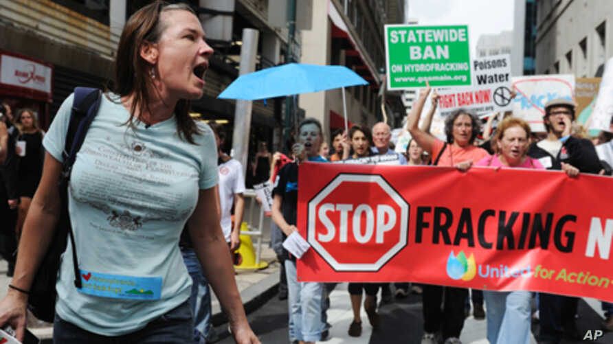 Breast cancer survivor Dana Dolney, at the Shale Gas Outrage protest in Philadelphia, wants the names of chemicals used in fracking to be publicly disclosed.
