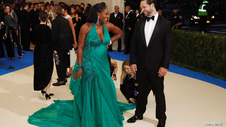 Serena Williams and Alexis Ohanian arrive, May 1, 2017, at the Metropolitan Museum of Art Costume Institute Gala in New York.