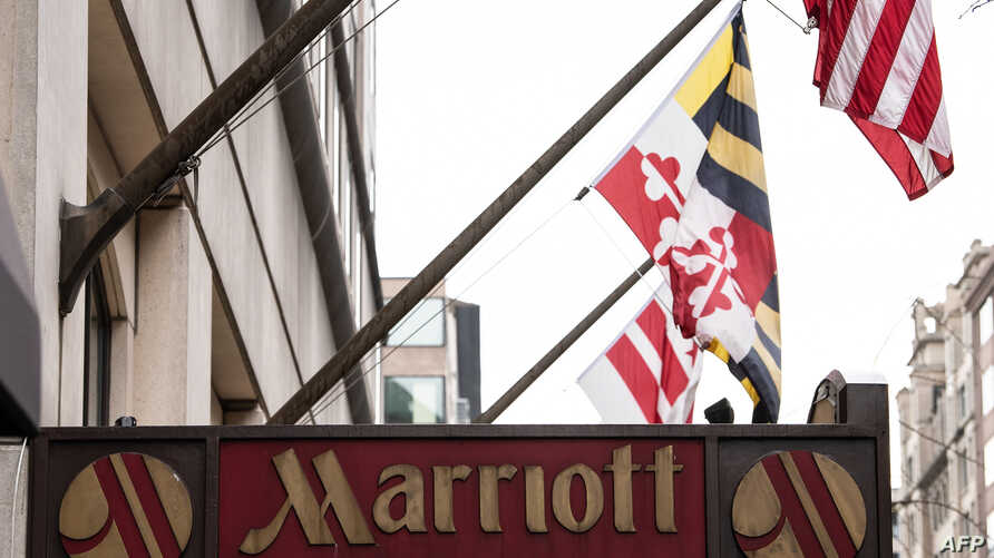 The Marriott logo is seen in Washington, Nov. 30, 2018, after Marriott International announced that the data of up to 500 million hotel guests may have been compromised in a hack of the Starwood reservation database.