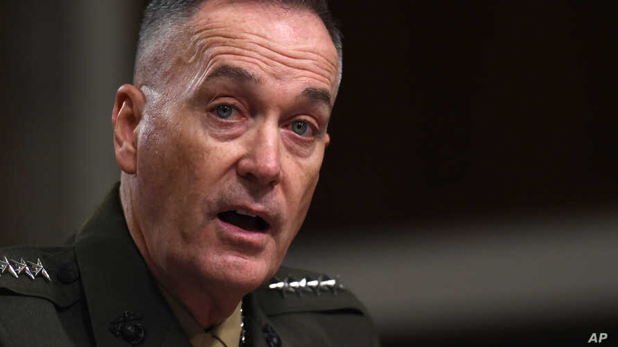 FILE - Marine Corps Commandant Gen. Joseph Dunford testifies on Capitol Hill in Washington, Tuesday, March 10, 2015.