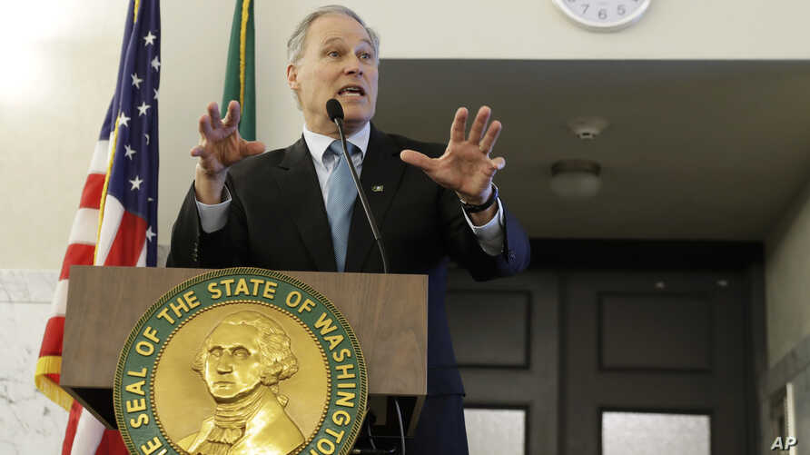 Washington Gov. Jay Inslee speaks to a meeting of the STEM Education Innovation Alliance, Feb. 27, 2019, at the Capitol in Olympia, Wash.