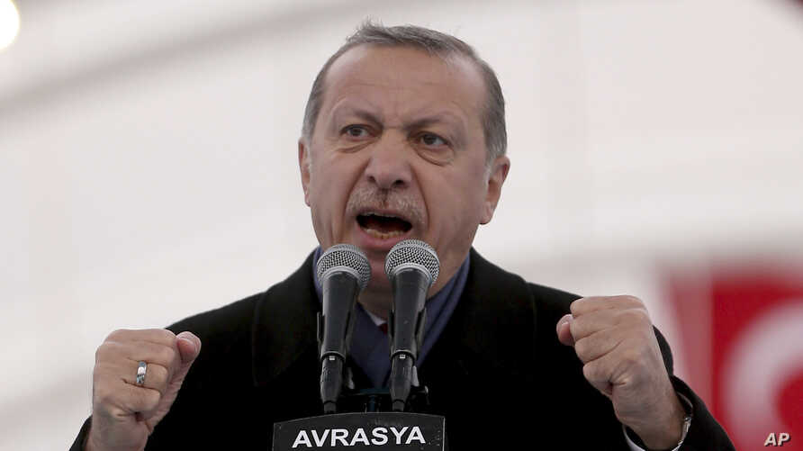 Turkey's President Recep Tayyip Erdogan speaks during the opening ceremony of the Eurasia Tunnel in Istanbul, Dec, 20, 2016.