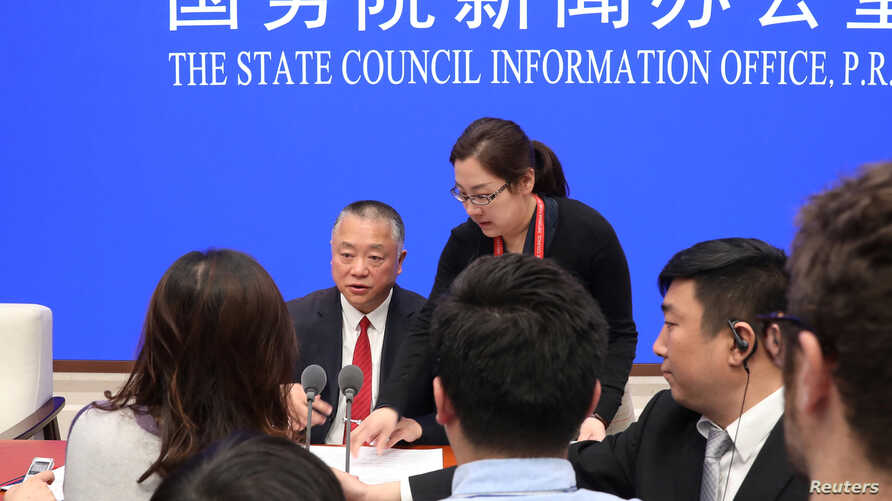 Liu Yuejin, Vice Commissioner of China National Narcotics Control Commission and Commissioner of Counterterrorism of Ministry of Public Security speaks to reporters after the news conference on fentanyl-related substances control, in Beijing, China,