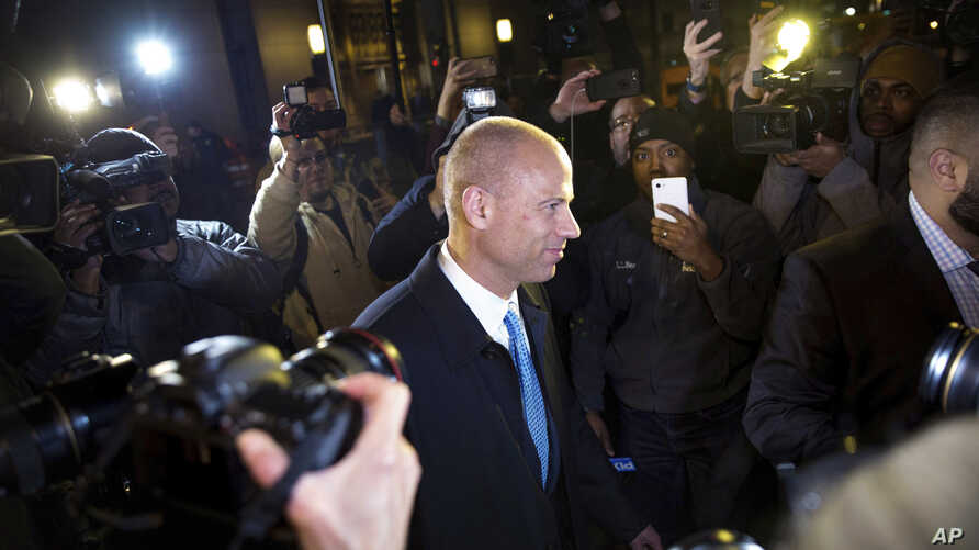 Attorney Michael Avenatti leaves Federal Court after his initial appearance in an extortion case, March 25, 2019, in New York.