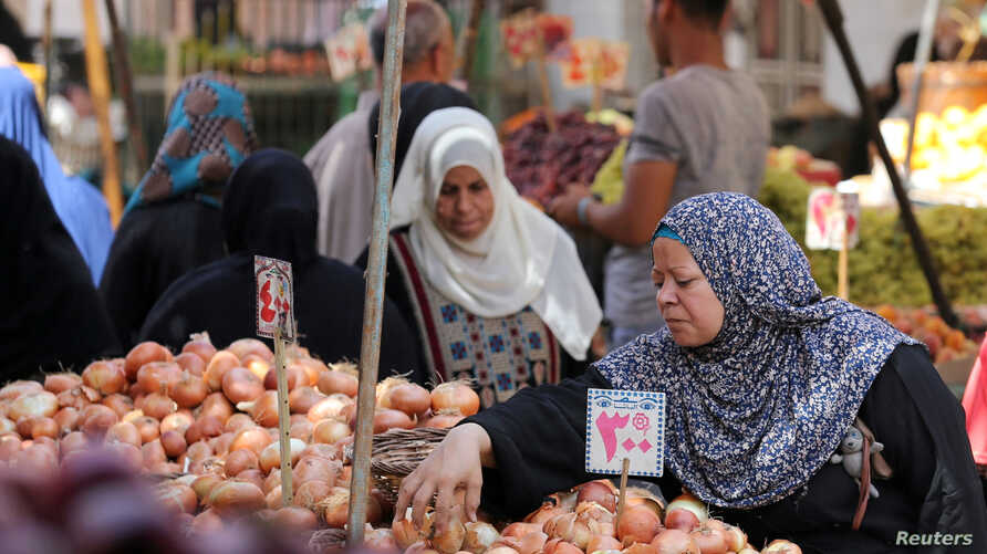 Egyptians shop at a vegetable market in Cairo, June 15, 2016.  Exports of Egyptian vegetables, fruits and legumes amounted to $2.2 billion last year and would likely rise by about 15 percent in 2017.