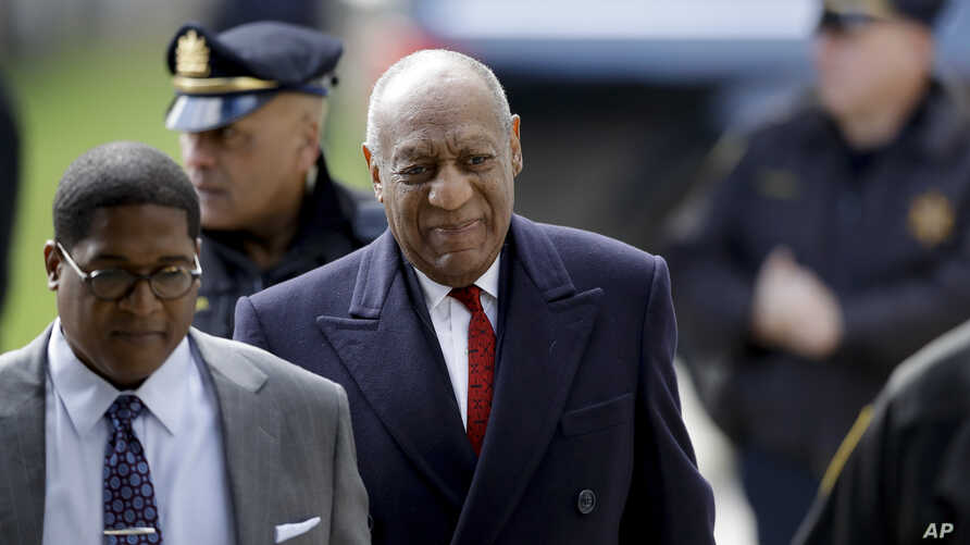 Bill Cosby arrives for his sexual assault trial at the Montgomery County Courthouse in Norristown, Pennsylvania, April 20, 2018.