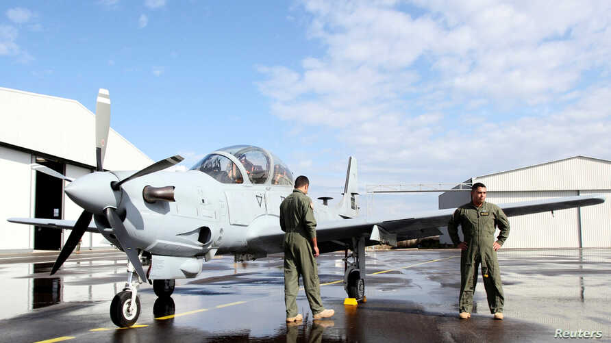 An A-29 Super Tucano light-attack aircraft is seen in Hamat Air Base in Lebanon's mountains, Oct. 31, 2017.
