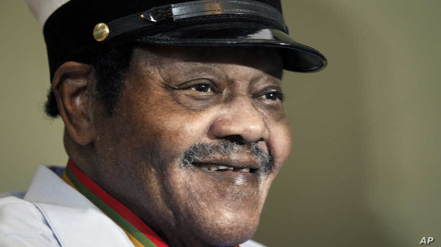 """FILE -  legendary musician Fats Domino is named """"Honorary Grand Marshall"""" of the Krewe of Orpheus, the star-studded Carnival club that traditionally parades the night before Mardi Gras in New Orleans."""