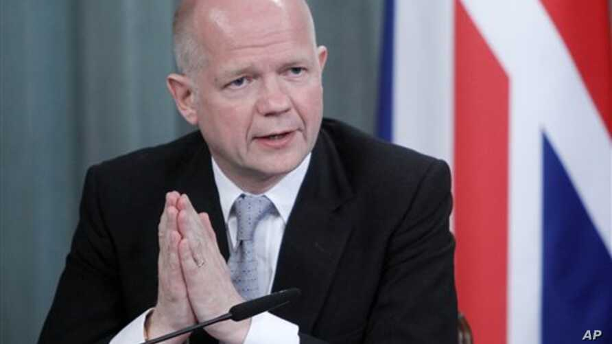 British Foreign Minister William Hague speaks during a press conference in Moscow, Russia, May 28, 2012.