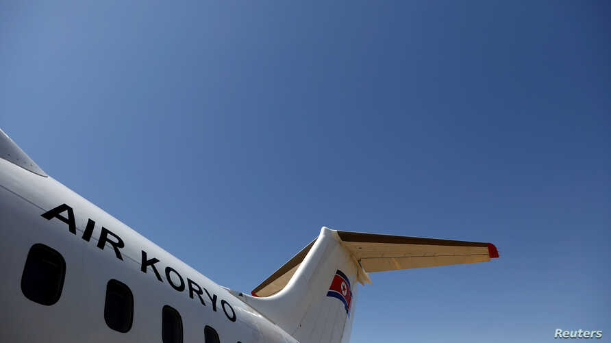 An Air Koryo logo is displayed on a plane at the airport in Pyongyang, North Korea, April 18, 2017.