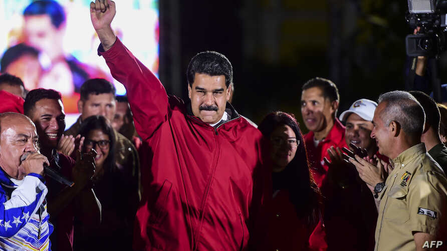 "Venezuelan President Nicolas Maduro celebrates the results of ""Constituent Assembly"", in Caracas, July 31, 2017."