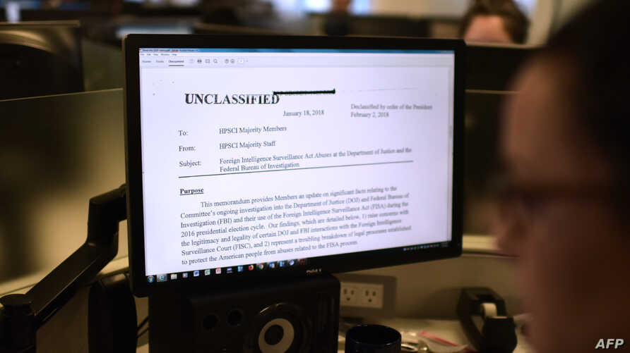The Republican intelligence memo alleging FBI abuse of power in probing Russian interference in the 2016 election is displayed on a journalist's computer screen in Washington DC, on February 2, 2018.