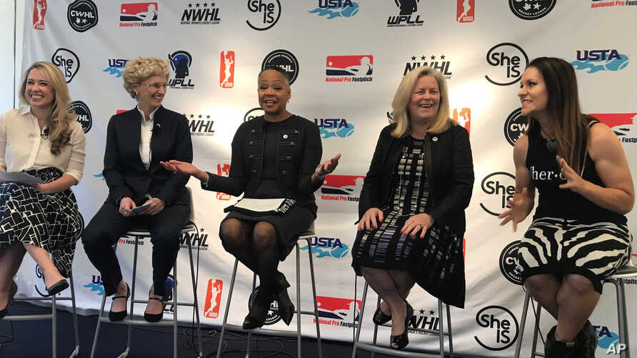 From left, Caiti Donovan, executive director of SheIS; Brenda Andress, commissioner of the Canadian Women's Hockey League; Lisa Borders, president of the WNBA; Stacey Allaster, chief executive for the US Tennis Association; and Dr. Jen Welter, the fi