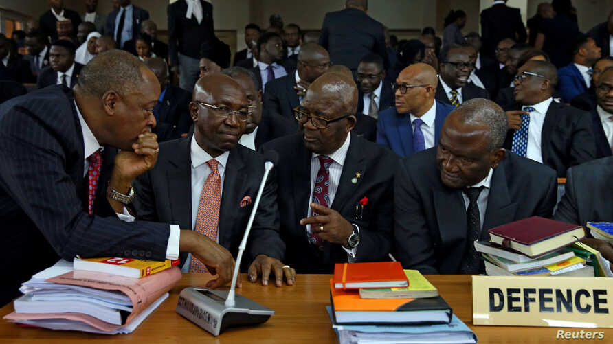 Attorneys defending Nigeria's Chief Justice Walter Onnoghen are seen at the Code of Conduct Tribunal, in Abuja, Nigeria, Jan. 22, 2019.