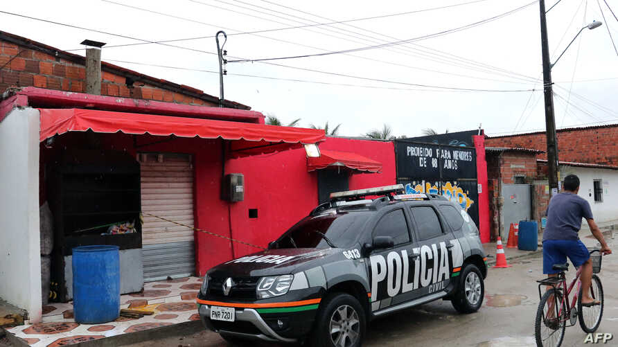 A view of the facade of the nightclub where 14 people were killed in an early Saturday shootout, in Fortaleza, northeastern Brazil, Jan. 27, 2018.