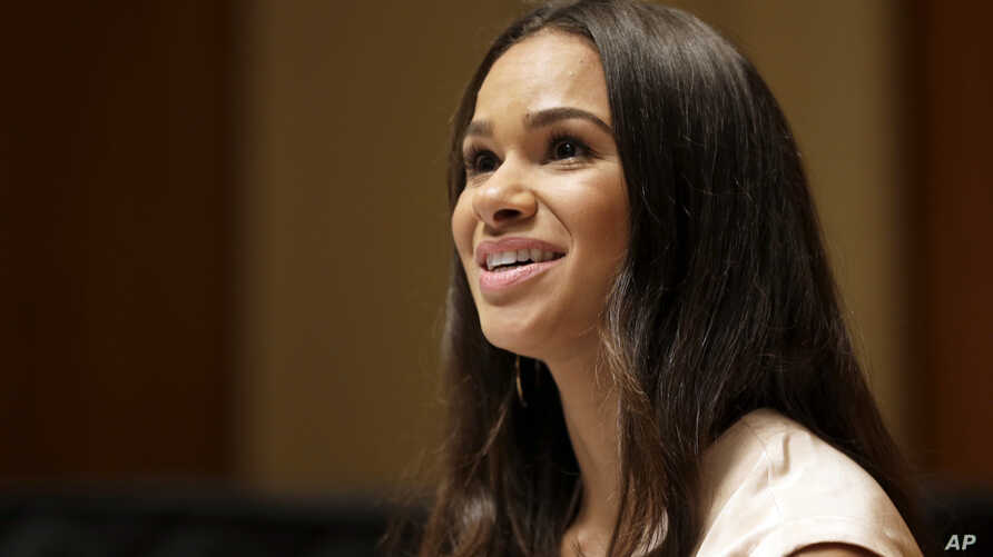 Misty Copeland speaks to reporters during a news conference, Tuesday, June 30, 2015, in New York.