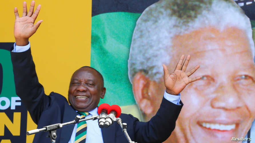 South African Deputy President Cyril Ramaphosa attends a rally to commemorate Nelson Mandela's centenary year in Cape Town, South Africa, Feb. 11, 2018.