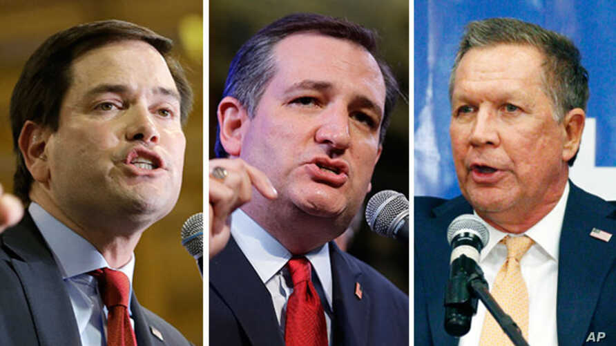 Republican presidential candidates (from left) Marco Rubio, Ted Cruz and John Kasich are seen in this composite image.  With Ben Carson seemingly suspending his campaign, Kasich, Cruz and Rubio are the last candidates standing in the way of the GOP n