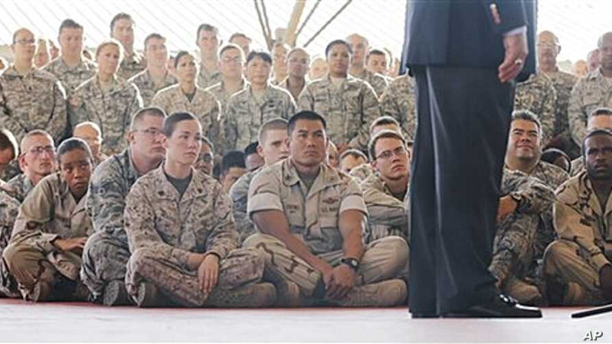 U.S. Secretary of Defense Leon Panetta addressing troops, Camp Lemonnier, Djibouti, Dec. 13, 2011.