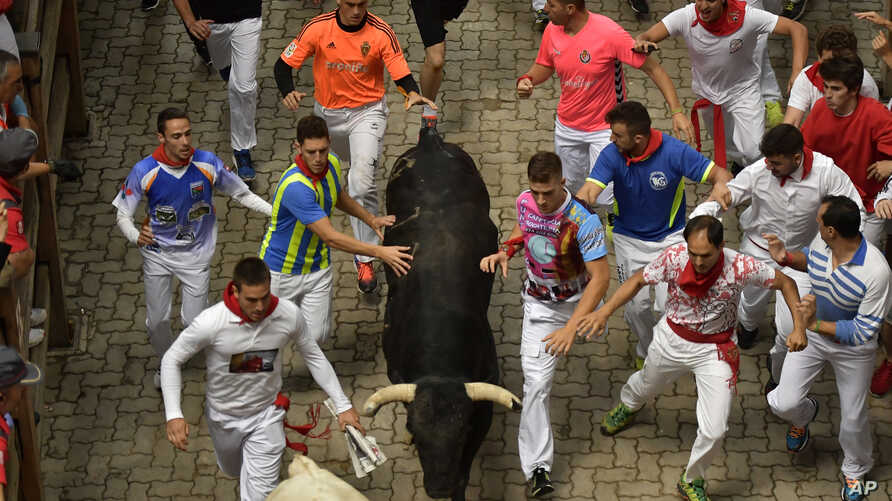 Revelers run with a Puerto de San Lorenzo fighting bull during the third running of the bulls at the San Fermin Festival, in Pamplona, Spain, July 9, 2017. Revelers from around the world flock to Pamplona every year to take part in the eight days of