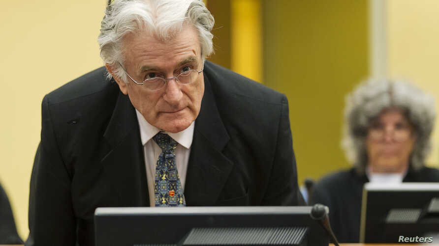 FILE - Bosnian Serb wartime leader Radovan Karadzic appears in the courtroom at the International Criminal Tribunal for Former Yugoslavia in The Hague July 11, 2013.