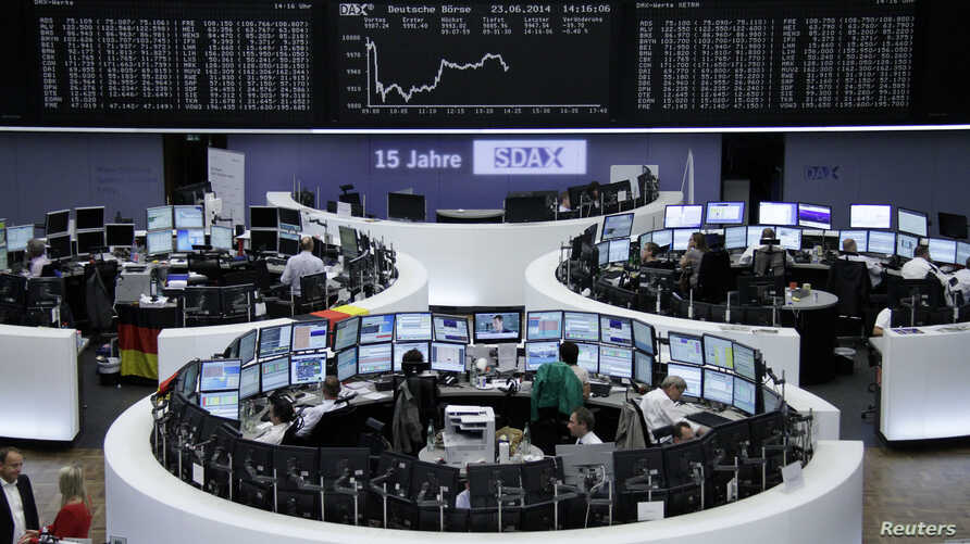 The curve of the German share price index DAX board, is pictured at the Frankfurt stock exchange, June 23, 2014.