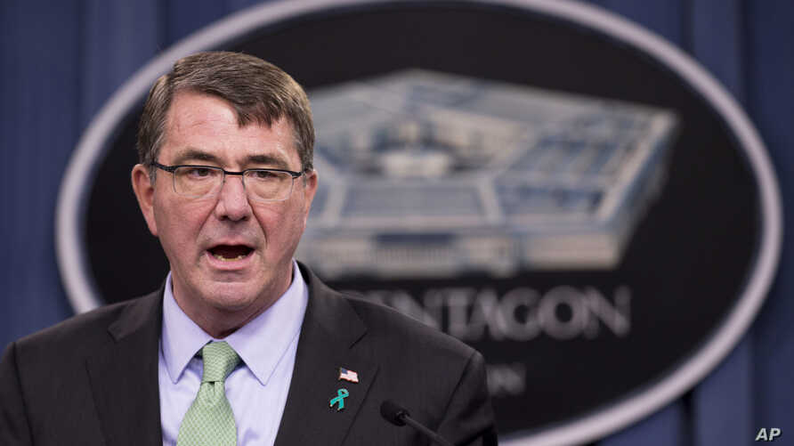 Defense Secretary Ash Carter, at a Pentagon news conference, discusses the Defense Department's annual report on sexual assault in the military, May 1, 2015.