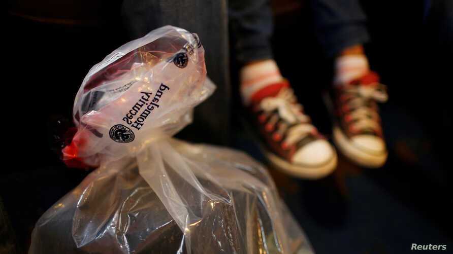FILE -  A bag containing the belongings of an undocumented immigrant family from Guatemala is pictured after their arrival to Annunciation House, an organization that provides shelter to immigrants and refugees, in El Paso, U.S. Jan. 17, 2017. P