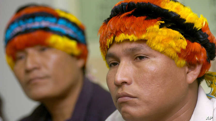 Andres Sandi (right) and Alberto Pizango, who represented the Achuar ethnic group of the Peruvian Amazon at a press conference, May 14, 2007, accused the U.S.-based Occidental Petroleum Corp. of systematic pollution.  On Friday, Dec. 9, 2016, almost