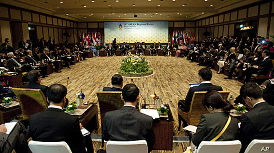 Foreign ministers and government officials attend the US - Association of Southeast Asian Nations (ASEAN) Regional Forum in Nusa Dua on Indonesia's resort island of Bali, July 23, 2011