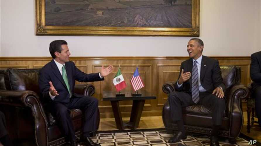 President Barack Obama meets witPresident Barack Obama meets with Mexican President Enrique Peña Nieto, state government palace, Toluca, Mexico, Feb. 19, 2014. Mexican President Enrique Peña Nieto at the state government palace in Toluca, Mexico on W