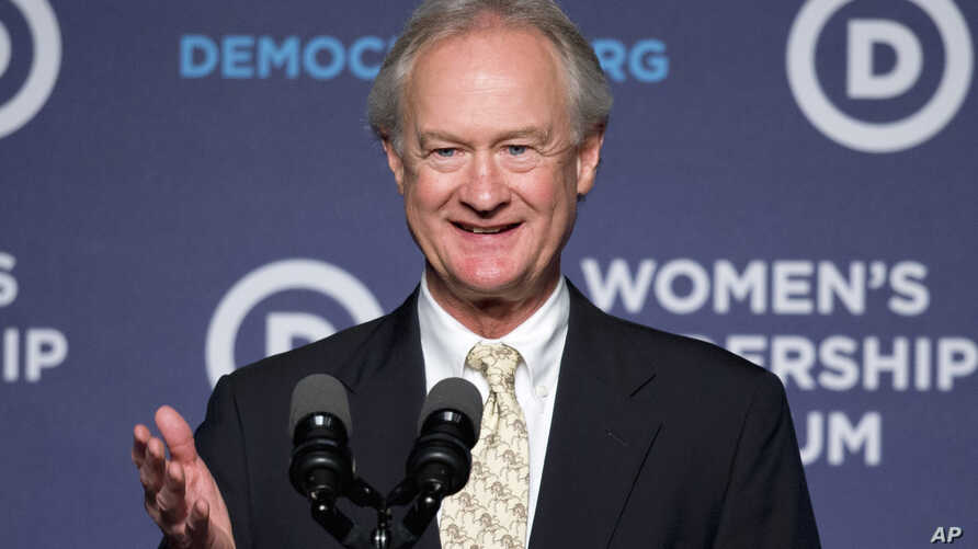 Former Rhode Island Gov. Lincoln Chafee says he will no longer seeks the presidential nomination while speaking at the Democratic National Committee 22nd Annual Women's Leadership Forum National Issues Conference in Washington, Oct. 23, 2015.