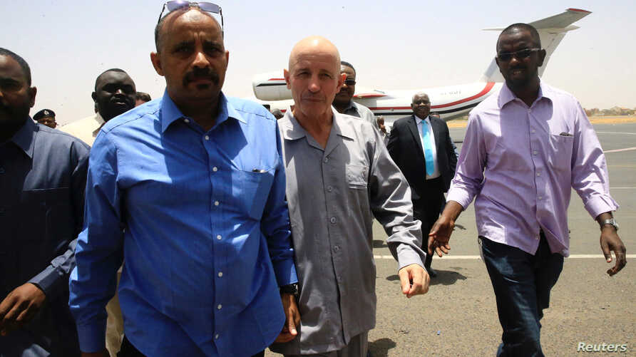 The French citizen who was abducted south of Abeche, arrives at Khartoum airport after his release, in Khartoum, Sudan, May 7, 2017.