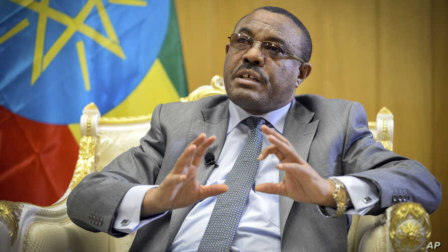 Ethiopia's Prime Minister Hailemariam Desalegn speaks to The Associated Press at his office in the capital Addis Ababa, Ethiopia, March 17, 2016.
