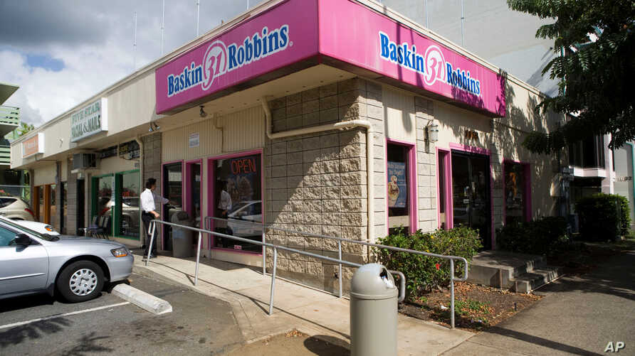 FILE - A 2008 photo shows the Baskin-Robbins ice cream shop in Honolulu, Hawaii, where President Barack Obama once worked. Obama says his unglamorous first job scooping ice cream as a teenager taught him valuable lessons about responsibility and hard