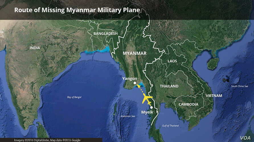 Route of missing Myanmar military plane