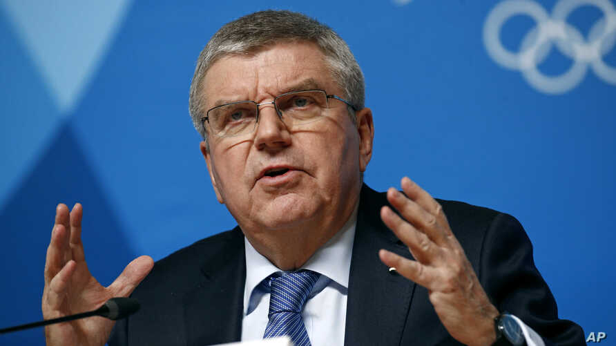 International Olympic Committee President Thomas Bach speaks at a news conference prior to the 2018 Winter Olympics in Pyeongchang, South Korea, Feb. 4, 2018.
