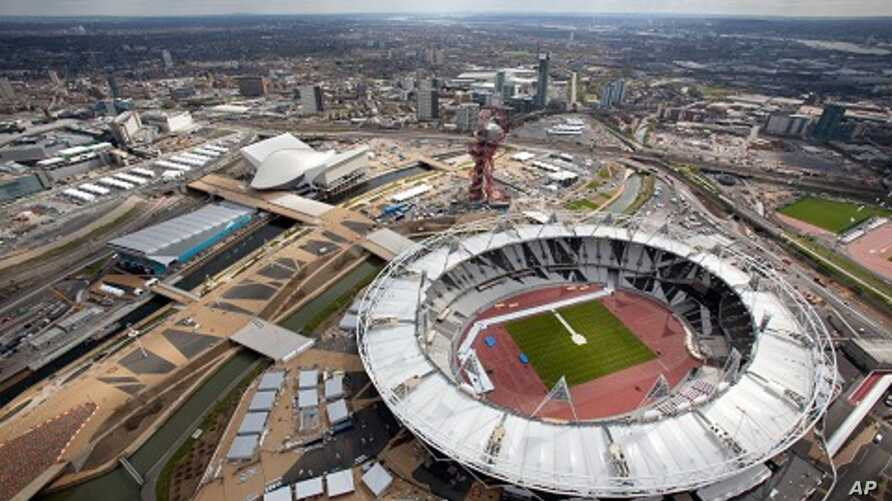 Aerial view of the Olympic Park showing the Olympic Stadium the Aquatics Centre and Water Polo Arena to the left, April 16, 2012.