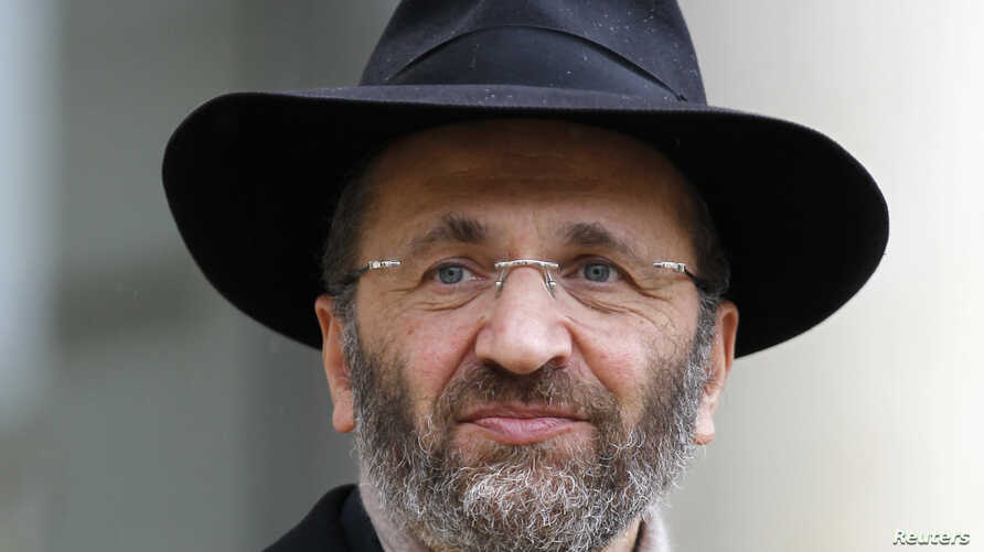 Chief Rabbi of France Gilles Bernheim leaves after a meeting at the Elysee Palace in Paris December 16, 2011.