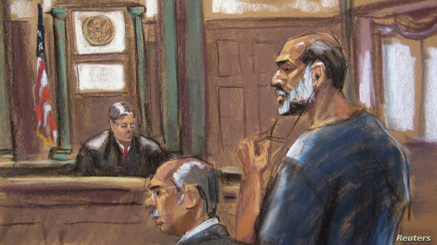 An artist sketch shows Suleiman Abu Ghaith, a militant who appeared in videos as a spokesman for al-Qaida after the September 11, 2001 attacks, appearing at the U.S. District Court in Manhattan, Mar. 8, 2013.