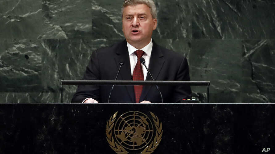 Macedonia's President Gjorge Ivanov addresses the 73rd session of the U.N. General Assembly, at U.N. headquarters in New York, Sept. 27, 2018.