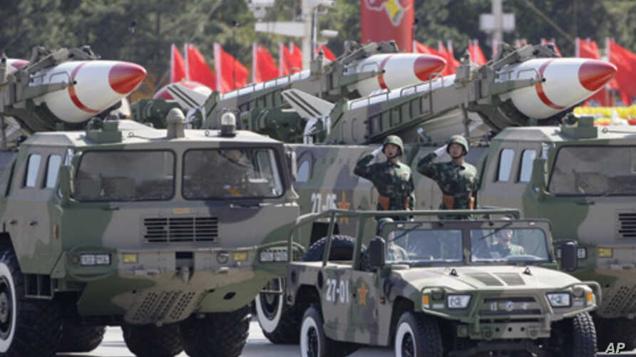 Missiles are displayed in a parade to celebrate the 60th anniversary of China's founding, Beijing, Oct. 1, 2009.